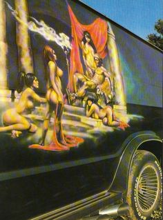 Epic Roman era mural on a custom van Dodge Ram Van, Chevy Van, Trucks And Girls, Big Trucks, Bedford Van, Astro Van, Bus Girl, Old School Vans, Camper