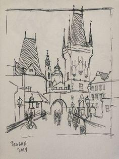 Sketch from Prague, Charles Bridge Voyage Sketchbook, Travel Sketchbook, Art Sketchbook, Pen Sketch, Art Sketches, Sketch Drawing, Architecture Drawing Sketchbooks, Building Sketch, Sketches Tutorial