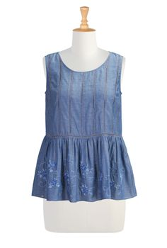 Chambray Cotton Voile Tunics, Embellished Floral Summer Tops Shop Women's Fashion - Tunic Tops - Shop women's short sleeve tops - | eShakti....