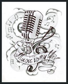 Music is my life tattoo #tattoo #mic #music #life