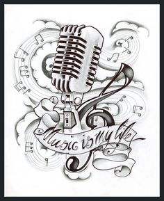 Music is my life tattoo #tattoo #mic #music #life