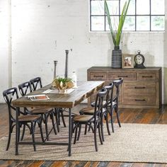 Stonemill Industrial 2100 Dining Package with French Cross Chairs (Table:  2100W x 900D x 785H mm; chairs:  460W x 420D x 870H mm) RRP $1,789