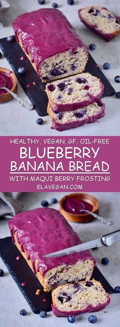#Blueberry #bananabread with maqui berry frosting. This blueberry bread is #vegan , #glutenfree , oil-free, moist, refined sugar-free, and healthy.