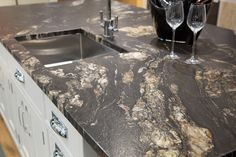 Cosmic black brushed granite worktop