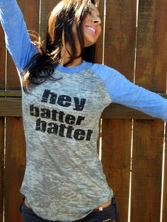 Hey Batter Batter Burnout Baseball Tee Sky by FiredaughterClothing