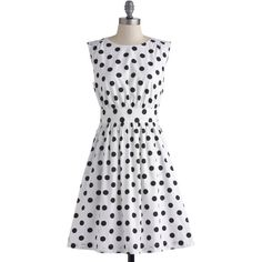 Emily and Fin Mid-length Sleeveless A-line Too Much Fun Dress ($90) ❤ liked on Polyvore featuring dresses, white, modcloth, black, polka dot, apparel, fashion dress, polka dot skater skirt, white mid length dress and white polka dot dress