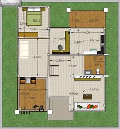 This modern style, half floor home has a unique style. It is distinctive in shape. 3 Storey House Design, 2 Storey House, Bungalow House Design, Modern House Design, Duplex House, Two Story House Plans, Dream House Plans, Modern House Plans, Small House Plans