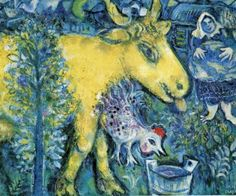 "naive-art-love:  "" The Farmyard, 1962, Marc Chagall  Size: 60x73 cm  Medium: oil on canvas"""