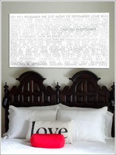 Word art with black and whites typography are still HUGE!  Put your vows or love letters to your spouse on canvas and hang over your bedroom wall… very ROMANTIC!