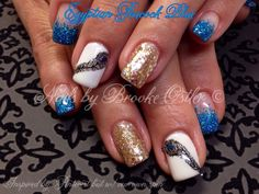 Blue gold feather nail art