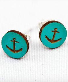 Turquoise Cameo Anchor Earrings <3 #nautical