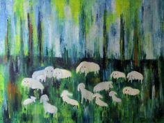 Buy Flock of sheep, Oil painting by Ingrid Knaus on Artfinder. Discover thousands of other original paintings, prints, sculptures and photography from independent artists.