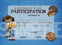 Girl Scout Cookie Printables | Girl Scouts Cookie Participation Award Certificate | Flickr - Photo ...