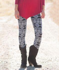 Bella Ella Boutique Black & White Mandala Leggings | zulily  #streetstyle