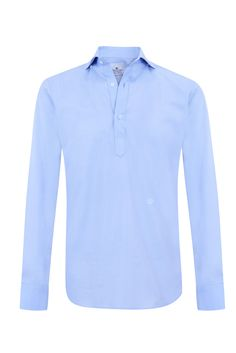 """Blue pinpoint oxford """"Hamptons"""" half placket shirt w/ logo embroidered in bright white. 100% cotton"""