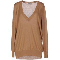 Alberto Biani Jumper (€280) ❤ liked on Polyvore featuring tops, sweaters, camel, cashmere jumpers, lightweight sweaters, cashmere v neck sweater, beige sweater and long sleeve tops