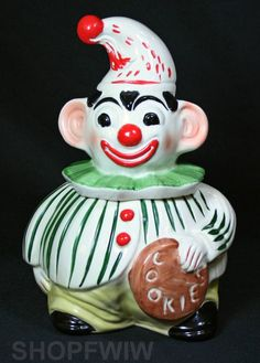 Rare Vintage Regal C Miller Vitrified China Clown Cookie Jar Circa 1950's