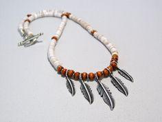 Beaded Southwest Feather Necklace  by StoneWearDesigns