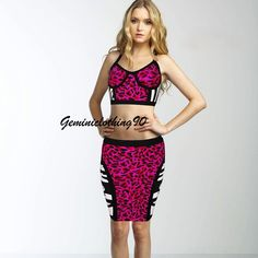 Celebrity style bodycon/bandage pink 2 pieces dress XS/X/M/L / Geminiclothing90