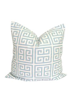 Greek Key Pillow.Robin's Egg Blue.18x18 inch.Pillow Cover.Printed Fabric Front and Back.Blue Maze Pillow.Geometric