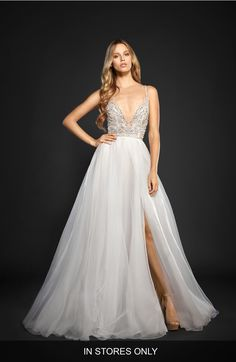 Main Image - Hayley Paige Kenny Organza A-Line Gown (In Stores Only)