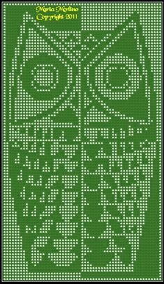 Modern Owl Curtain Wall Panel Chart In Filet Crochet Stitch Free Pattern MoEZ
