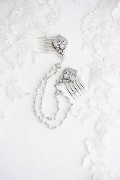 Pearl and Crystal Hair Chain Boho Bridal Hair Accessory Wedding Headpiece Wedding Hair Chain Bridal Hair Comb Set Wedding Hair Jewelry EVIE