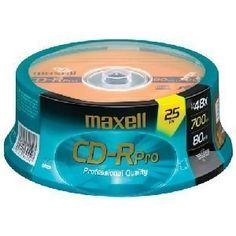 Maxell 48x CD-R Media - 700MB - 120mm Standard - 25 Pack Spindle by Maxell. $19.99. Maxell CD-Recordable discs have capacities of 700 MB, and are compatible with writers up to 48x. Maxell CD-Rs are ideal for storage, data exchange, multimedia projects and jukebox/duplicator applications.