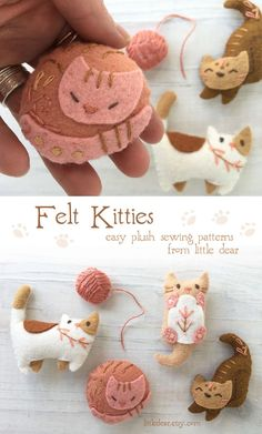 Stitch a litter of your own soft, sweet furry friends with this easy sewing pattern PDF from little dear. littledear.etsy.com #feltanimals #feltcats #catplush #catpattern Easy Sewing Patterns, Cat Pattern, Nature Crafts, Felt Animals, Fiber Art, Etsy Seller, Plush, Just For You, Pdf