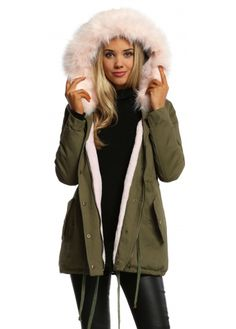 2016 Winter New Women Black Parka Jacket Coats Hooded Fur Lining ...