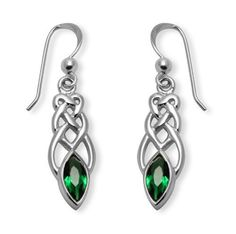 Celtic Marquise Earrings in Emerald Crystal and Sterling Silver
