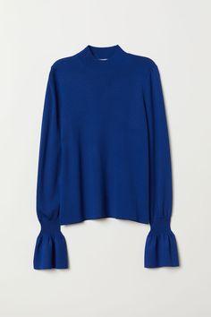 fbec7521fb106 H&M Flounce-sleeved Sweater - Blue