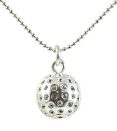 Navika Silver Golf Ball Necklace- This simple and elegant necklace is a perfect way to show your love for golf! Goes with everything, whether on the green or off. Made in USA and won't tarnish!