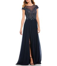 c39ea355b76 Terani Couture Illusion Beaded Bodice Chiffon Gown
