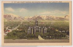 "Salt Lake City Utah Postcard ""City Country Building Wasatch Mtns"" Linen 1947"