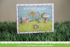 Lawn Fawn - Gleeful Gardens + coordinating dies, Stitched Rectangle Stackables, Stitched Hillside Borders, You've Got Mail _ card by Nicole for Lawn Fawn Design Team