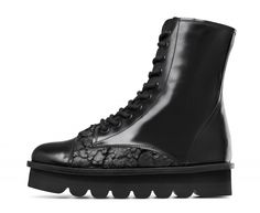 Leather and fabric army boots