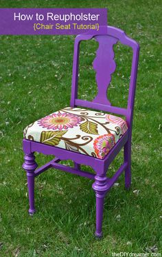 Got an old chair that has seen its better days? Revamp it into a stylish piece of furniture with this tutorial on How to Reupholster a Chair Seat. All it takes is a little bright colored fabric to make a chair look brand new. Refurbished Furniture, Repurposed Furniture, Furniture Makeover, Cool Furniture, Painted Furniture, Antique Furniture, Furniture Refinishing, Distressed Furniture, Industrial Furniture