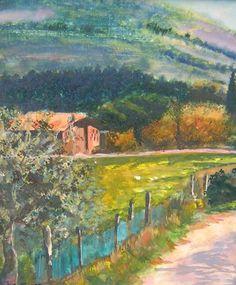 """""""Near Via Senese"""" Small scale original Gouache/panel Available through artist Contact: MB.artwork@verizon.net"""