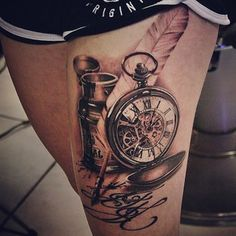 Tatouage montre horloge tatoo pinterest hauts - Montre a gousset tattoo ...