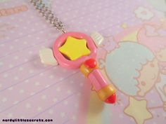 Cardcaptor Sakura Star Staff Wand Necklace by NerdyLittleSecrets Fimo Clay, Polymer Clay Projects, Polymer Clay Charms, Polymer Clay Jewelry, Clay Crafts, Porcelain Clay, Cold Porcelain, Biscuit, Sakura Card Captors