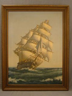 Antique ART DECO Navy NAUTICAL Old CLIPPER SHIP Boat SEASCAPE Frigate PAINTING - http://mobileartgallery.net/antique-art-deco-navy-nautical-old-clipper-ship-boat-seascape-frigate-painting/