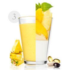 Τονωθείτε με αυτό το γευστικό smoothie. Κάθε μερίδα Wellness Breakfast περιέχει τόση Βιταμίνη C όση ένα πορτοκάλι και τόση Βιταμίνη D όσο ένα μπολ μανιτάρια.Υλικά:200 γραμμάρια από κίτρινα φρούτα της επιλογής σαςΤο χυμό από 1 πορτοκάλι3 φύλλα μέντας200 γραμμάρια γιαούρτι χαμηλών λιπαρών+1 δόση Natural Balance Shake Βανίλια+1 φακελάκι WellnessPack Fresco, Oriflame Cosmetics, Glass Of Milk, Smoothies, Panna Cotta, Fruit, Tableware, Ethnic Recipes, Milkshakes