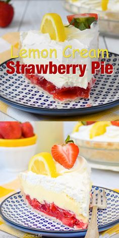 This easy Lemon Cream Strawberry Pie has layers of strawberry pie filling and lemon cream. It's the perfect summer dessert! recipes videos for summer Lemon Cream Strawberry Pie 13 Desserts, Summer Dessert Recipes, Lemon Desserts, Delicious Desserts, Yummy Food, Summer Cookout Desserts, Light Summer Desserts, Easy Strawberry Desserts, Picnic Desserts