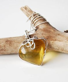 Natural Baltic Amber Necklace Amber And Sterling Silver Heart