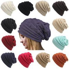 Winter Unisex Women Men Knit Ski Crochet Slouch Hat Cap Hat Skull Solid  Color Ski Hats 52390654536a