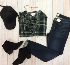 A plaid is always a good go-to. 💕 #xoxoAL4You #plaid #fallfashion #baseballcap #denim #apricotlane Work Me Up Plaid Top $46 Black Flat Booties $49 Shop with the link below! http://form.jotform.us/form/52044697810154