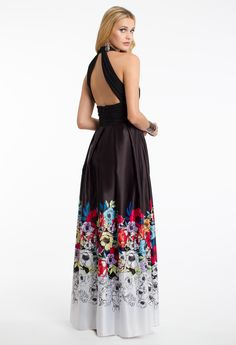 Multi Floral Print Halter Dress #camillelavie
