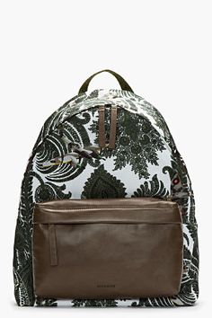 Givenchy Olive Green Leather Trimmed Paisley Print Backpack for men | SSENSE