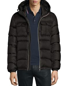 Morane Logo-Stripe Down Jacket, Black by Moncler at Bergdorf Goodman.